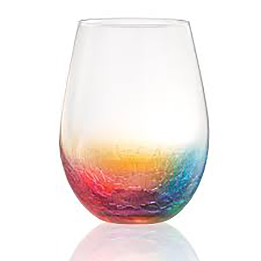 CRACKLE STEMLESS WINE GLASS