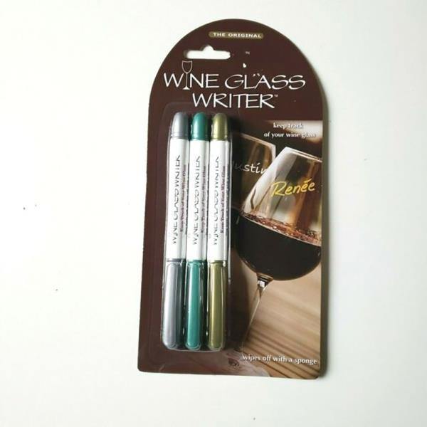 WINE GLASS WRITER METALLIC SET OF 3 PENS